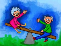 Elderly Couple Feeling Young Again Royalty Free Stock Photo