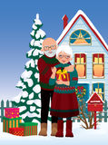 Elderly couple getting gifts at Christmas vector illustration