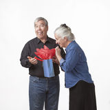 Elderly Couple with Gift Bag. Against a white background Stock Photography