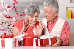 Elderly couple with gifts Royalty Free Stock Photo