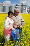 Elderly couple with grandchild on rapeseed field Royalty Free Stock Photos