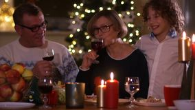 An elderly couple, grandparents, and their grandson celebrate Christmas. Drink red wine, grandmother kisses her grandson.  stock video