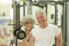 Elderly couple in a gym Royalty Free Stock Image