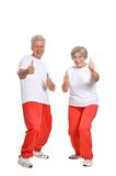 Elderly couple in a gym Royalty Free Stock Photography