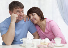 Elderly couple have a breakfast Stock Photo