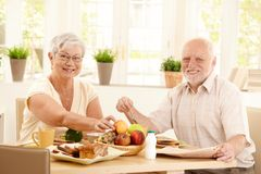 Elderly couple having breakfast. Happy elderly couple having breakfast in kitchen, smiling at camera Stock Image