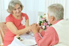Elderly couple having a dinner Stock Photography