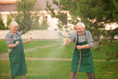 Elderly couple having fun. Stock Images