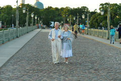 Elderly couple having rest in park Royalty Free Stock Image