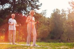 Elderly couple having a walk together royalty free stock images