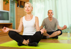 Elderly couple having yoga at home Royalty Free Stock Image