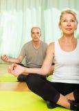 Elderly couple having yoga at home Stock Photos