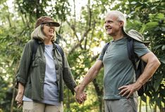 Elderly couple holding hands in the forest stock image