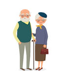 Elderly couple holding hands. Elderly couple with glasses holding hands. Vector illustration in cartoon style Stock Images
