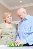 Elderly couple at home kitchen Stock Photography