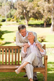Elderly couple hugging Royalty Free Stock Images