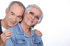 Elderly couple hugging Stock Photo