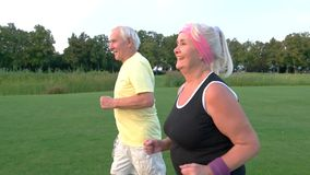 Elderly couple is jogging. stock video footage
