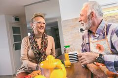 Elderly couple in the kitchen preparing breakfast. royalty free stock photo