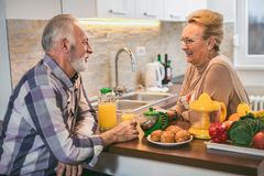 Elderly couple in the kitchen preparing breakfast. royalty free stock photo