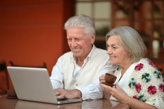 Elderly couple with a laptop Stock Photos