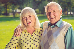 Elderly couple laughing. Stock Images