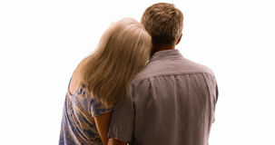Elderly couple in love being affectionate on white background Royalty Free Stock Image