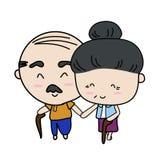 Elderly couple love forever. Isolated illustration on white background Royalty Free Stock Photography