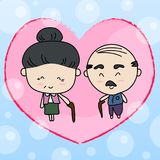 Elderly couple of lover Vector illustration. Background Royalty Free Stock Images