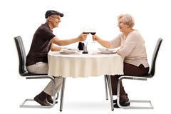 Elderly couple making a toast with wine royalty free stock image
