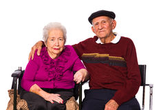 Elderly couple. Elderly married couple on a white background Royalty Free Stock Photography