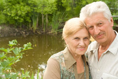 elderly couple at nature Royalty Free Stock Photo