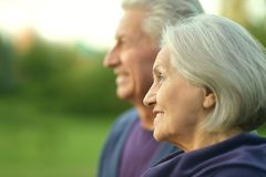 Elderly couple at nature Royalty Free Stock Photos