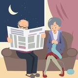 Elderly couple at night in home knitting and reading. Funny vector illustration of married life Stock Image