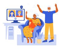 Free Elderly Couple Online Via Video Chat At Home. Video Conference With Family In The Quarantine Using The App. Old Parents Royalty Free Stock Images - 183249499
