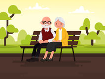 Elderly couple outdoors. Grandparents are sitting on a bench in. The park. Vector illustration of a flat design Royalty Free Stock Photo
