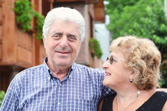 An elderly couple outdoors. Stock Photography