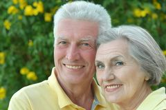Elderly couple on palm leaves background Royalty Free Stock Image