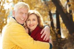 Elderly couple in park stock photography