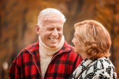 Elderly couple in park royalty free stock photos