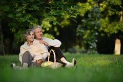 Elderly couple in park Stock Photo