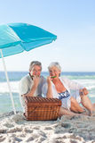 Elderly couple picnicking Stock Photography