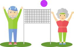 Elderly couple playing volleyball Royalty Free Stock Photos