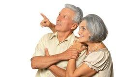 Elderly couple pointing Royalty Free Stock Photo
