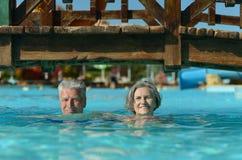 Elderly couple in pool Stock Photos
