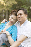 Elderly couple portrait. Happy Affectionate Smiling Senior Couple Outdoor Portrait Royalty Free Stock Photos