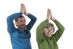 Elderly couple practicing yoga Royalty Free Stock Photo