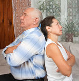 Elderly couple after quarrel Royalty Free Stock Images