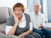 Elderly couple quarrel Stock Image