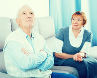 Elderly couple quarrel Royalty Free Stock Image